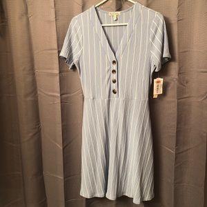 New Cute Blue/White Striped Sundress